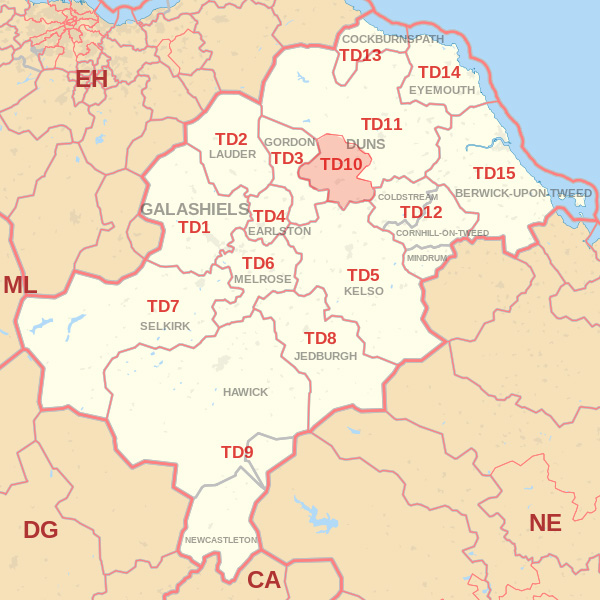 Map showing the TD10 Postcode area Covered By Jedburgh skip Hire