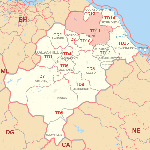 Map showing the TD11 Postcode area Covered By Jedburgh skip Hire