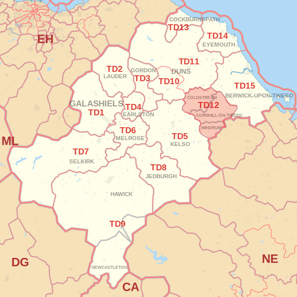 Map showing the TD12 Postcode area Covered By Jedburgh skip Hire