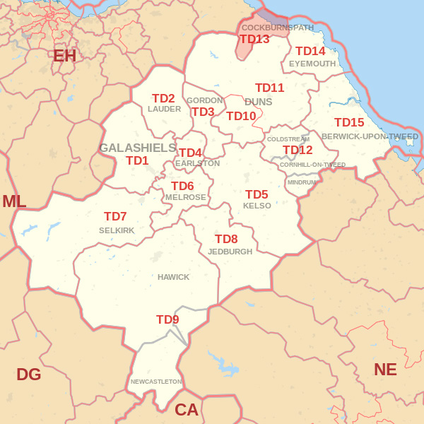 Map showing the TD13 Postcode area Covered By Jedbugh skip Hire