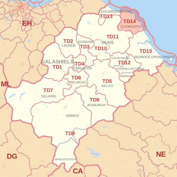 Map showing the TD14 Postcode area Covered By Jedburgh skip Hire