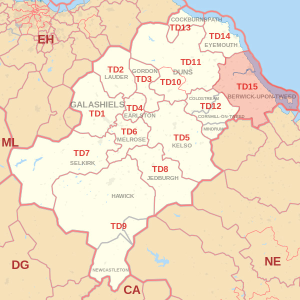 Map showing the TD15 Postcode Area Jedburgh skip Hire