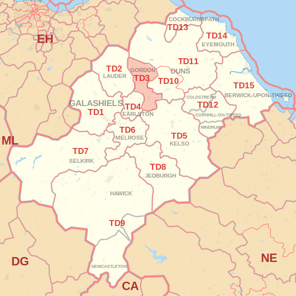 Map showing the TD3 Postcode area Covered By Jedburgh skip Hire
