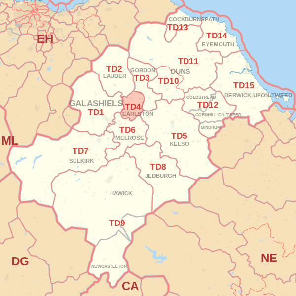 Map showing the TD4 Postcode area Cpvered By Jedburgh skip Hire