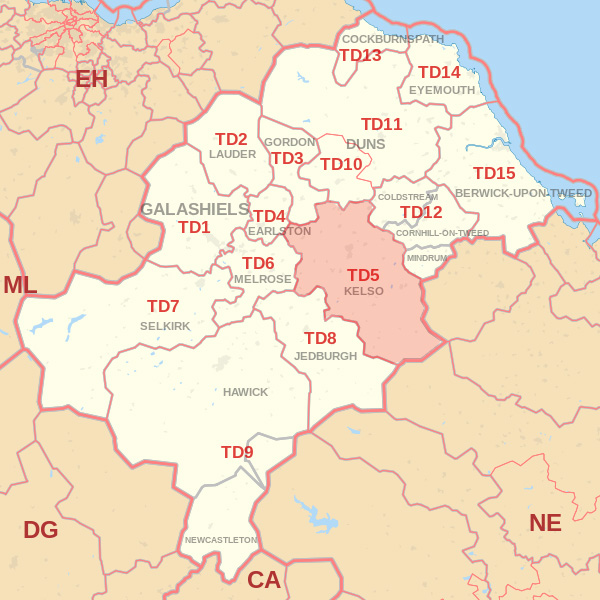 Map showing the TD5 Postcode area Covered By Jedburgh skip Hire