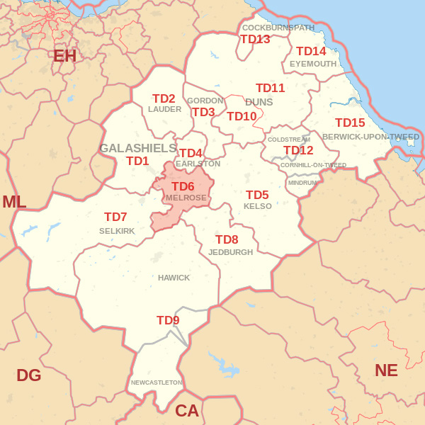 Map showing the TD6 Postcode area Covered By Jedburgh skip Hire