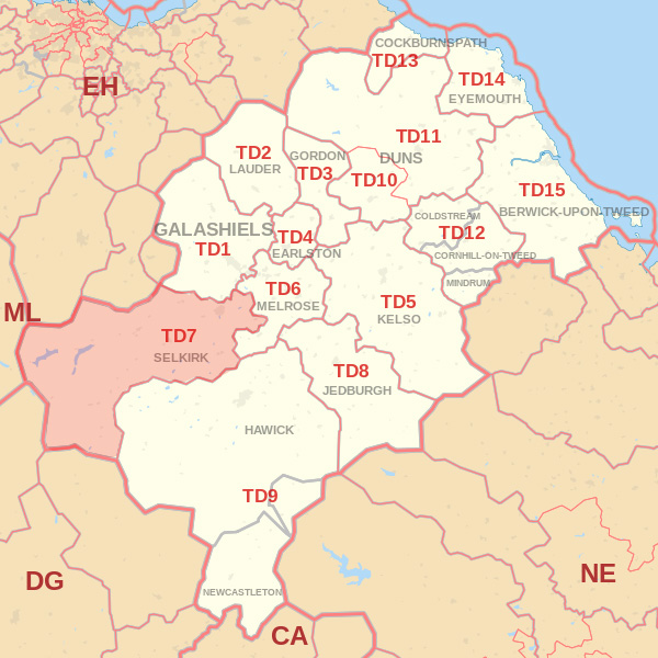 Map showing the TD7 Postcode area Covered By Jedburgh skip Hire