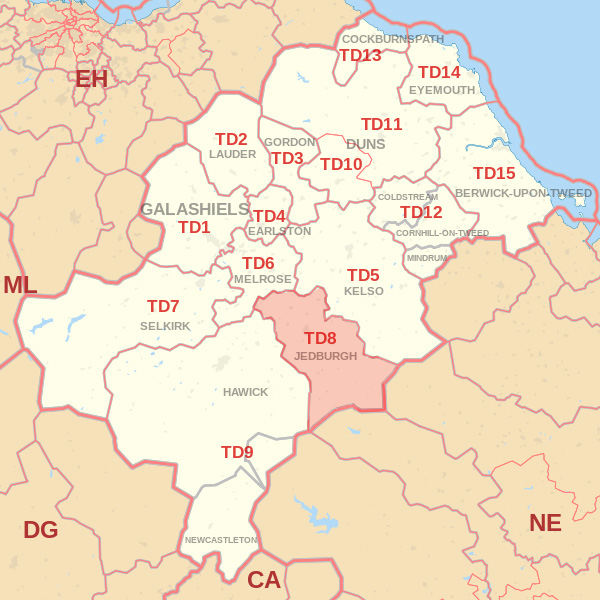 Map showing the TD8 Postcode area Covered By Jedburgh skip Hire